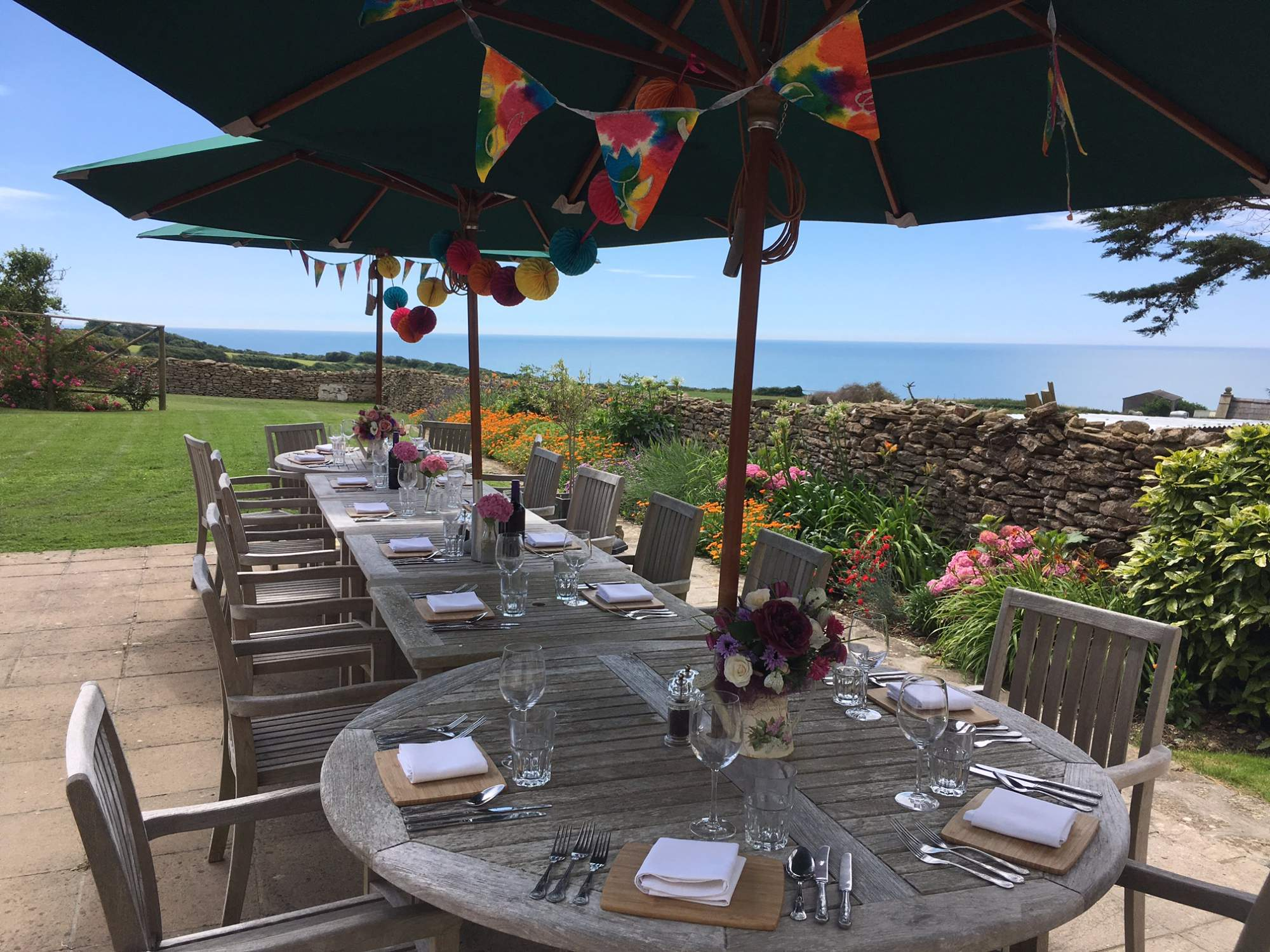 Alfresco dining looking over Lyme Bay